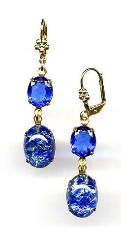 SAPPHIRE SEA BLUE FIRE OPAL crystal Earrings 14K Gold gp Levers *Vintage Czech