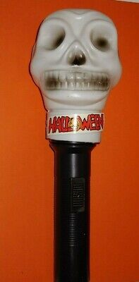 Vintage Halloween White Skull Skeleton Head Plastic Blow Mold Flashlight Works