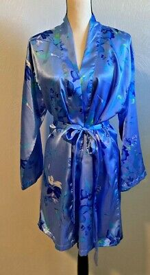 Sleep Club Women's Sexy Sleepwear Two Piece Chemise & Robe Blue Floral Medium
