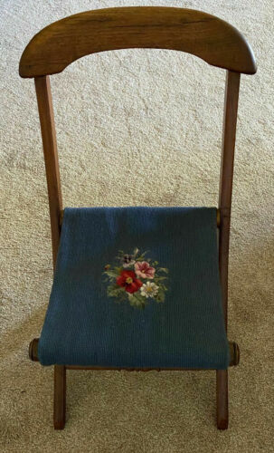 Victorian Antique Needlepoint Seat Folding Chair-Great Condition