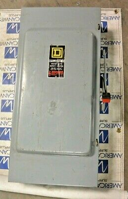 Square D Hu364 200 Amp 600 Volt Indoor Non Fused Disconnect Switch Used