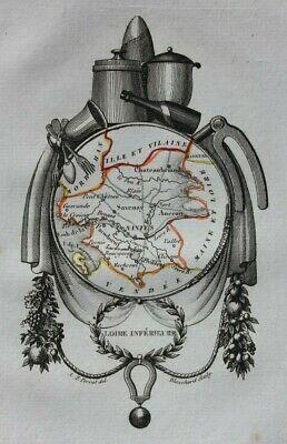 Miniature antique map, LOIRE-INFERIEURE, LOIRE-ATLANTIQUE, FRANCE, Perrot, 1824