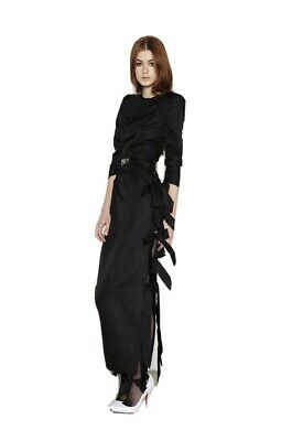 ALESSANDRA RICH midi black jacquard silk dress IT 40
