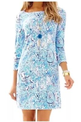 Lilly Pulitzer Sophie Dress Lucky Trunks Blue And White Upf 50+ Size XL New