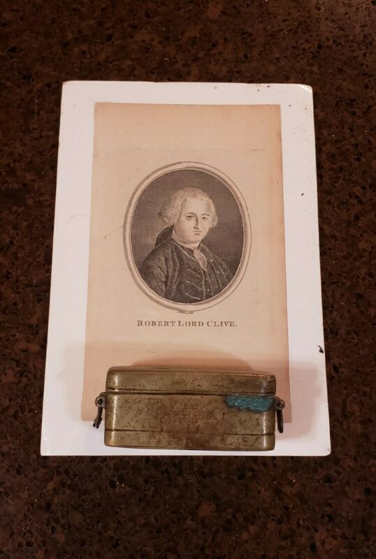 MUSEUM PIECES! CIRCA 1760S MAJOR GENERAL LORD ROBERT CLIVE OPIUM BOX & PHOTO