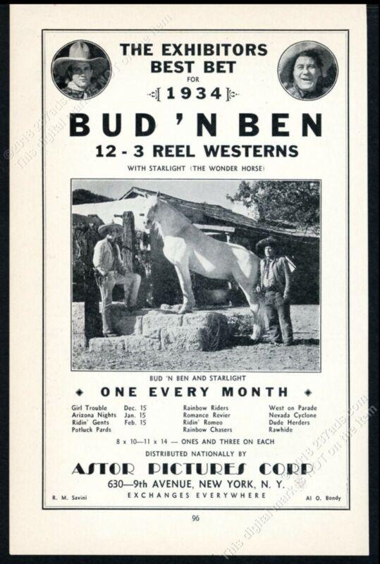 1934 Bud N Ben Dennis Moore Ben Corbett Starlight horse photo vintage print ad