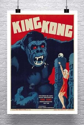 King Kong 1933 Vintage Danish Movie Poster Canvas Giclee Print 24x32 in.