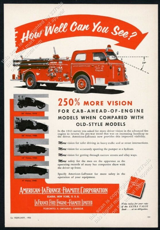 1955 American-LaFrance fire engine Jacksonville F.D.truck photo vintage ad