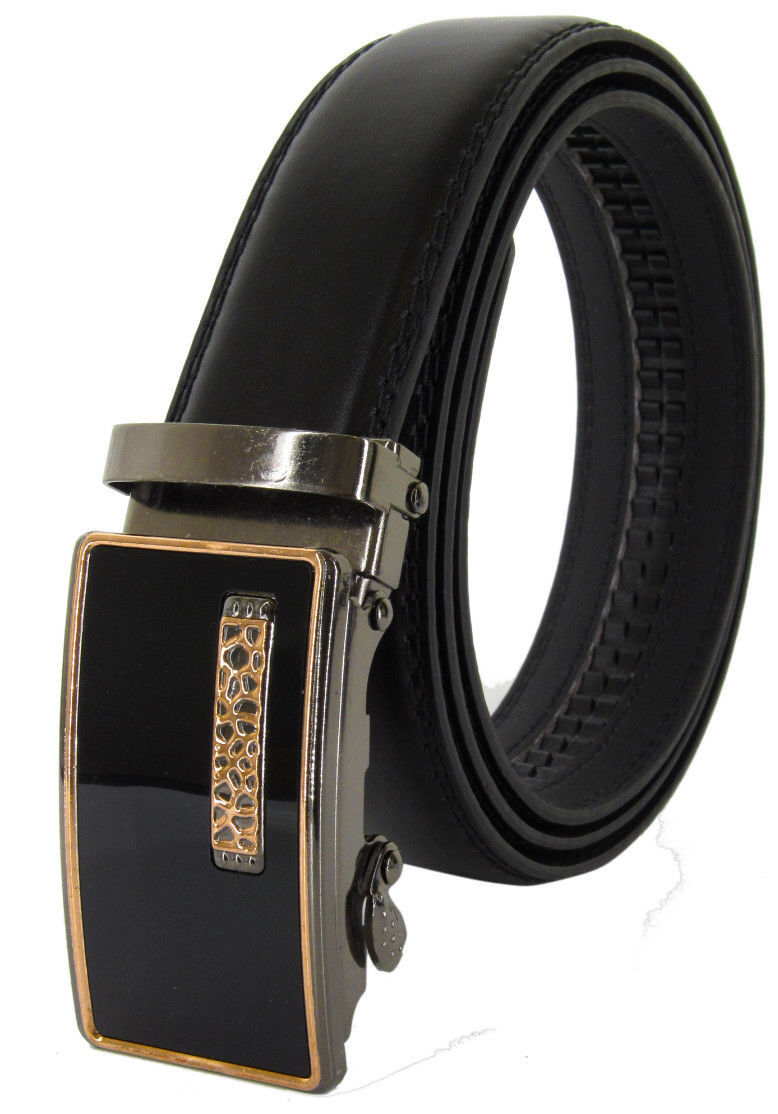 Men Automatic Ratchet Click Lock Belt Genuine Leather Design Style Buckle Belts
