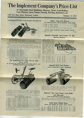 1913 Richmond Virginia Farm Machinery Catalog Implement Company