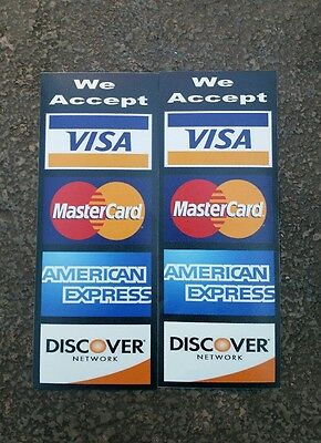 Credit Card Logo Decal Sticker 2 Pcs Set Visa Mascard Discover .american E..