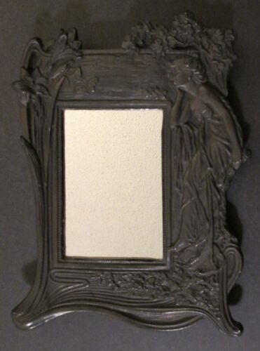 """ART NOUVEAU FIGURATIVE WALL HANGING MIRROR ~11"""" x 8"""" ~ Architectural Salvage"""