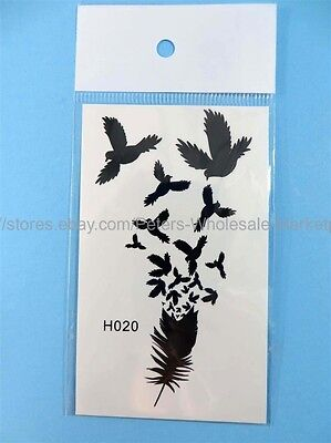 *US SELLER*waterproof birds featherblack henna lace temporary tattoos
