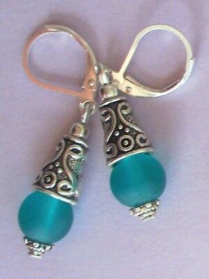 teal green BEACH FROSTED GLASS drop earring SP HANDCRAFTED