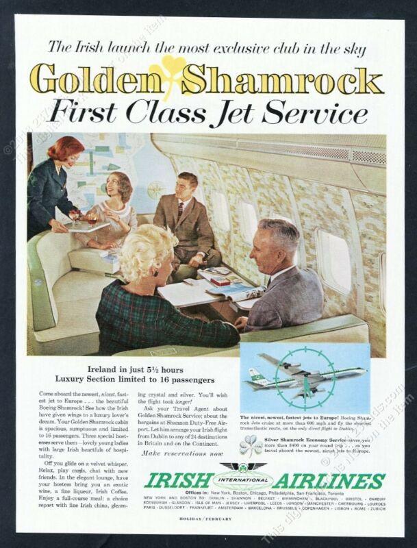 1961 Aer Lingus Irish Airlines stewardess plane color photo vintage print ad