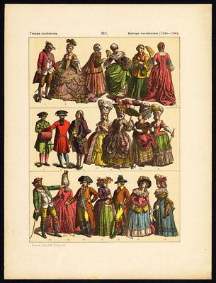 Antique Print-MODERN COSTUME-WESTERN EUROPE-18th CENTURY-Pl. 117-Hottenroth-1884