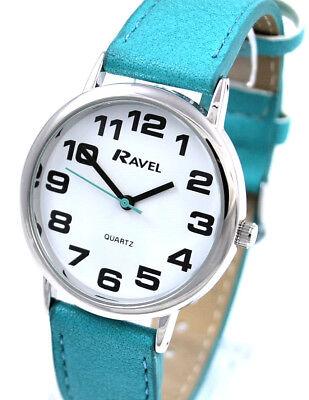 Ravel Damen Kühn Groß Nummer Uhr mit Großem Zifferblatt und Extra Lang Türkis