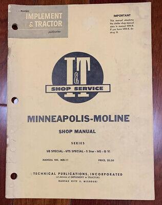 Minneapolis Moline Mm-11 Shop Manual Ub Special Uts Special 5 Star M5 G Vi