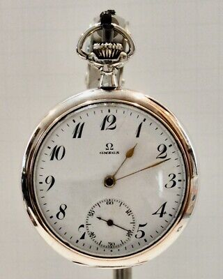 Antique Omega Grand Prix Paris 1900 Open Face Pocket Watch - Case 800 Silver
