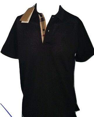 Oxford Short Sleeve Polo Shirt (Burberry men's short sleeve check placket oxford polo shirt black s,m,xl,2xl,3xl )