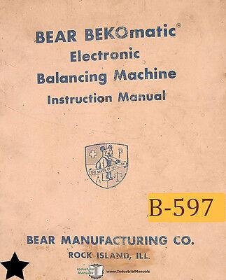 Bear Bekomatic Balancing Machine Operation Schematics Maintenance Parts Manual