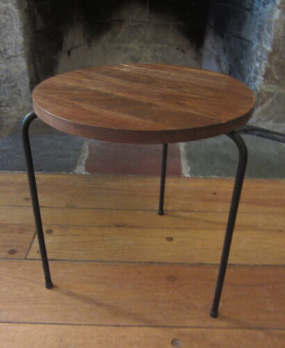 Mid Century Modern LUTHER CONOVER Wood Iron Stool Side Table