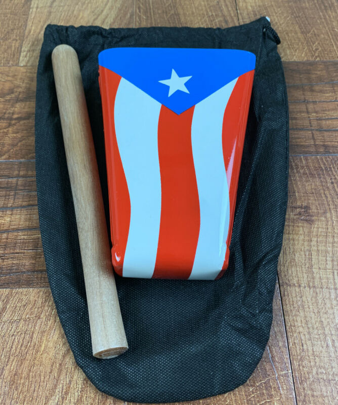 Hand Held Cowbell Painted With Puerto Rico Flag, Includes Pouch And Stick Low P