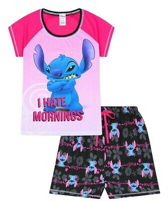- Womens Disney Lilo and Stitch I HATE MORNINGS SHORT Ladies Pyjamas Pjs