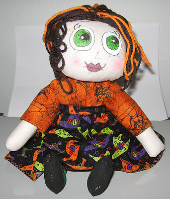 JKW Halloween Handmade Raggedy Ann CobWeb Moon Star Gothic Green Eyes WiTcH DOLL - Cobweb Eyes Halloween