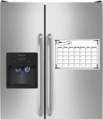 16 X 11 Monthly Dry Erase Magnetic Light Weight Refrigerator Calendar Message