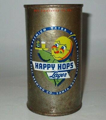 Happy Hops Lager flat top beer can, Grace Bros., Santa Rosa, CA