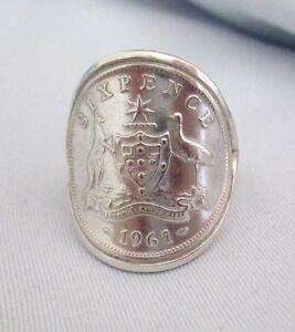 australian sixpence 6d sterling silver coin ring post 1945