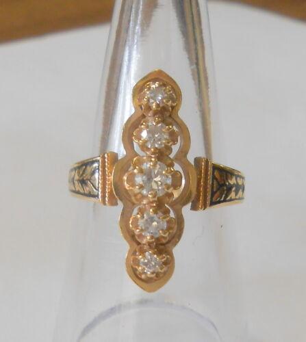 Beautiful 5 Diamond 14K Yellow Gold Black Enamel Accent Ladies Ring Size 8