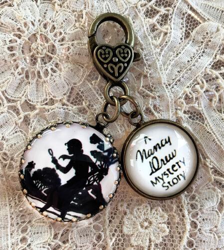 "NANCY DREW ~  Glass Charm Filigree Brass 1"" ZIPPER PULL Key Ring"