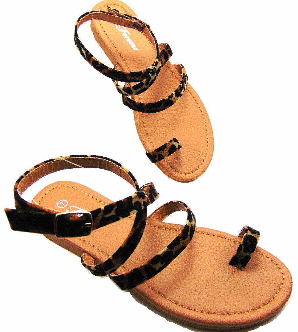 Women's Fashion Animal Leopard Print Design Open Toe Strappy Shoes Sandals Flats