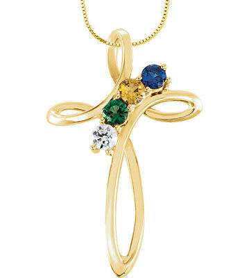 10K or 14K Solid Gold Cross Family Pendant Mother's Jewelry 1-5 Round Birthstone