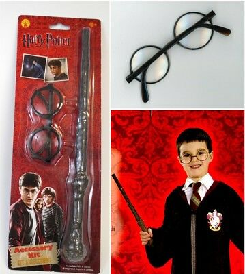 Harry Potter First Year Child Costume Accessory Kit Wand + Glasses Logo Licensed - Boys Harry Potter Costume