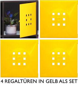 4er set t r einsatz ikea regal expedit kallax norm s flexi mit w rfel xxxl gelb ebay. Black Bedroom Furniture Sets. Home Design Ideas