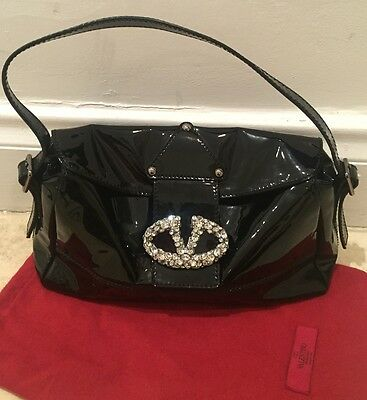 $1495 NWT VALENTINO BLACK PATENT LEATHER BAG W/ CRYSTAL LOGO