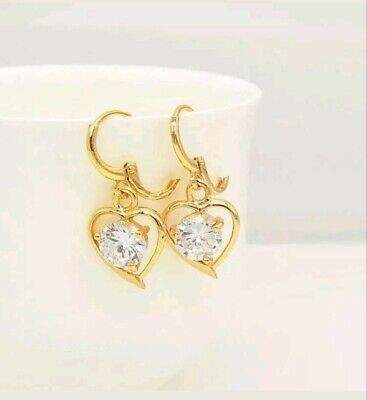 Sweet gold plated large cubic zirconia heart shape dangle earrings  Cubic Zirconia Large Heart
