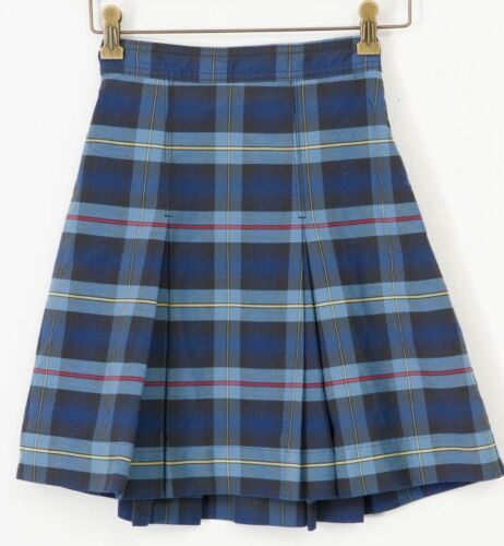 School Uniform Blue Red Yellow Plaid Pleated Back Elastic