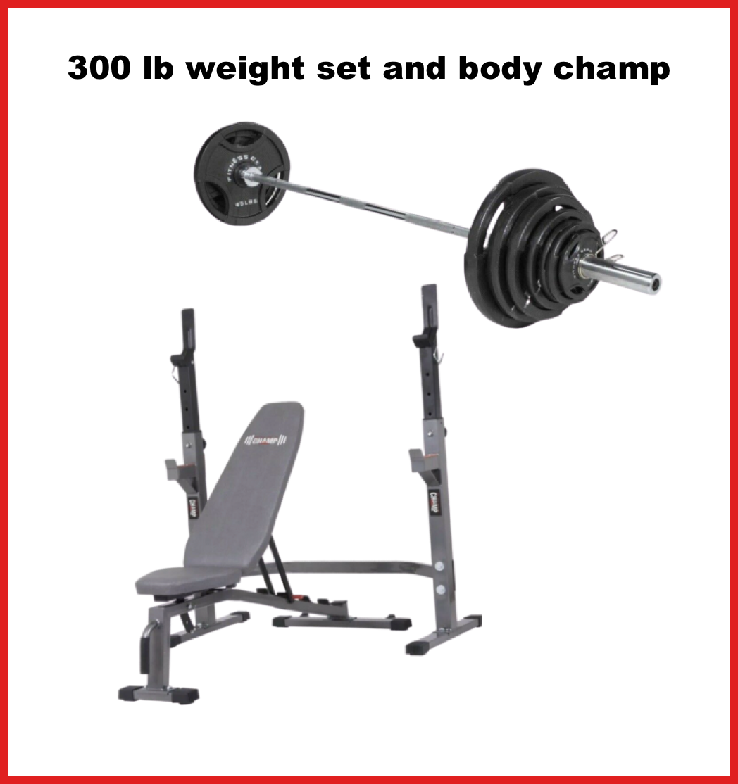 🔥NEW  300 lb Weight Set and Body Champ Olympic Power Squa