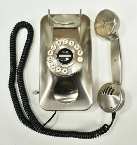 Grand Wall Phone Vintage Style False Dial, Push Button Corded Wall Telephone