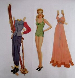 """Beautiful """"Betty Grable"""" Vintage Paper Doll w/ Wardrobe of Pretty Clothes *"""