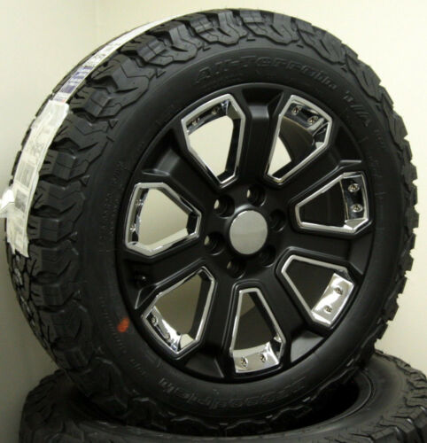 "Gmc Sierra Yukon Denali 1500 20"" Wheels Satin Black And Chrome Rims Bfg At Tires"
