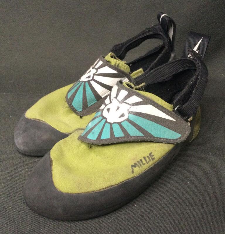 Evolv Trax Youth Green & Black Rock Climbing Shoes Youth Sz 13 GPOC