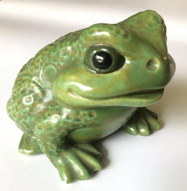 Vintage Atlantic Mold 1978 Signed Handpainted ceramic frog Toad Garden Art Decor