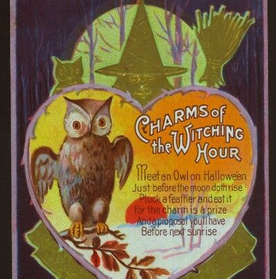"""""""CHARMS OF WITCHING HOUR"""" HALLOWEEN SUPERSTITION,OWL FEATHER,VINTAGE POSTCARD"""