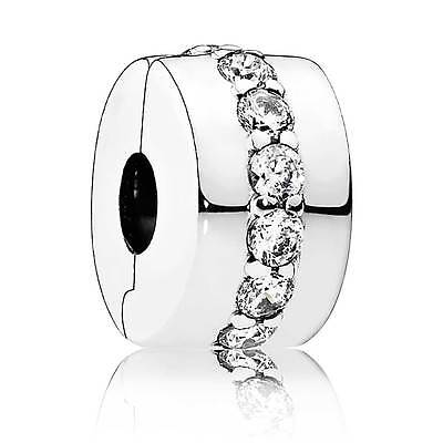 Authentic Pandora Charm Sterling Silver 791972Cz Clip Shining Path