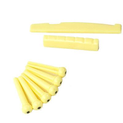 Acoustic Guitar Saddle / Bridge Pins / Nut Combo Set ,Aged Ivory color Ivory Bridge Pins